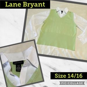 🍁 LANE BRYANT, Light Green sweater with collar